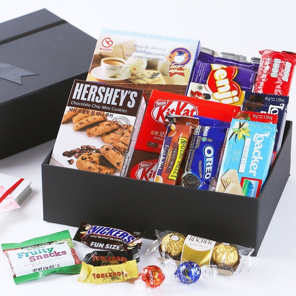 주전부리마트 화이트데이 사탕 선물 블랙C 생일 기념일 여친 남친 대용량 수입 과자선물세트 회사 단체 답례품, 1HBG_럭셔리 블랙 간식 C, 1개