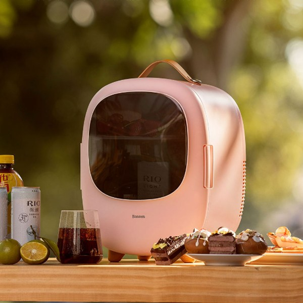 샤오미 Baseus 미니 냉온장고 8L 차량용 가정용, 핑크