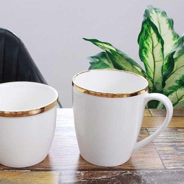 QLT288729[우수상품]퓨어화이트 머그컵 골드링 디자인 2style 포인트 안깨지는컵 커피컵 유치원컵 유리머그컵, 와이드형