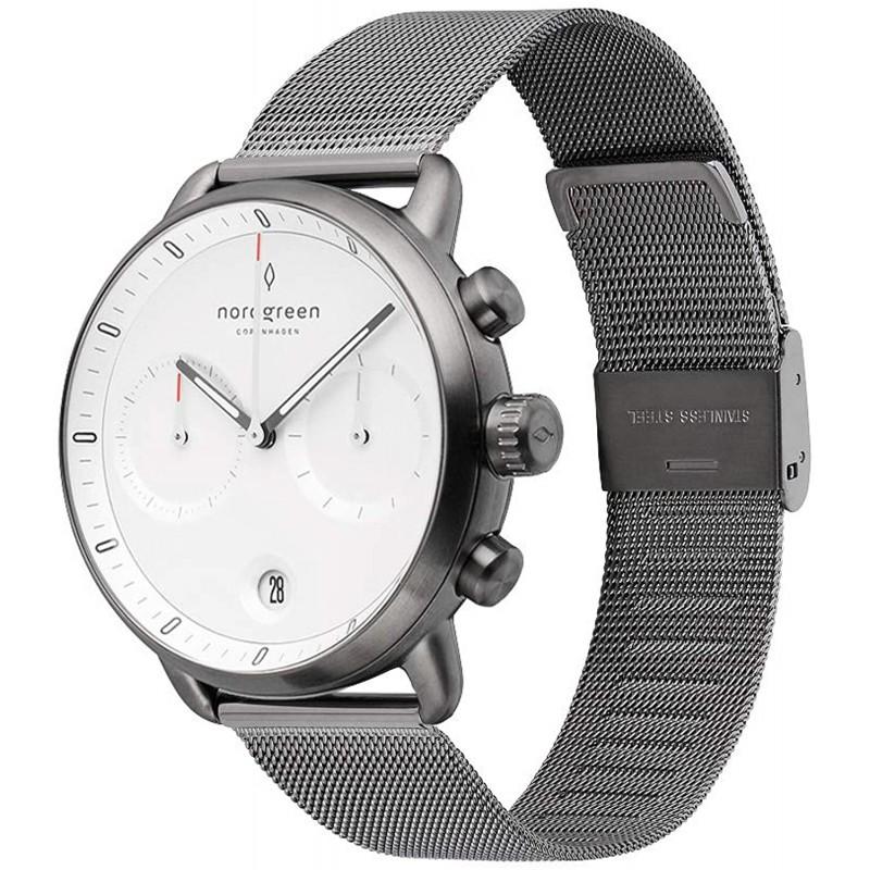 Nordgreen[노드 그린][Pioneer]남성의 암 메탈 42mm기록 시계 화이트 페이스 건메탈 메시 손목 시계 벨트
