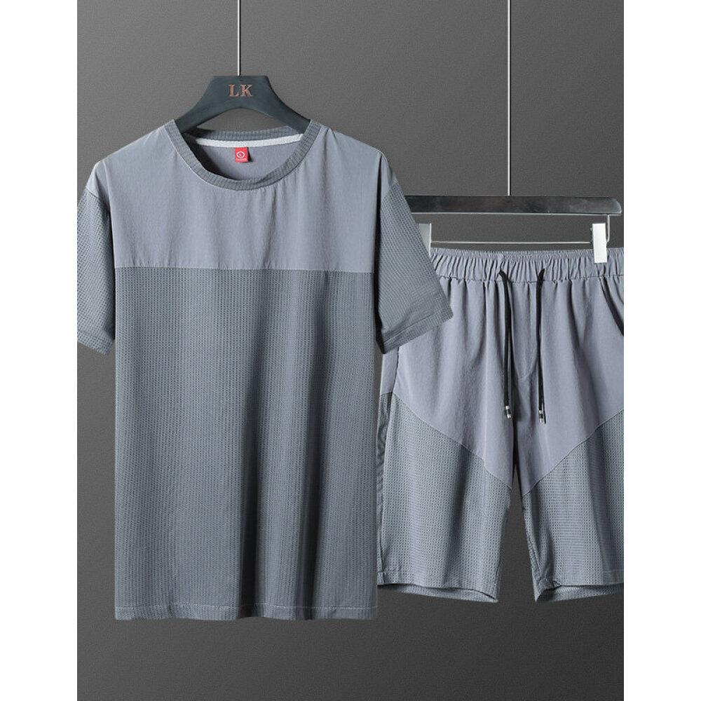 아 이 스 티 반팔 트 레이 닝 세트 남자 여름 속 건식 루스 핏 의 얇 은 캐 주 얼 바지 티셔츠 하복 달리기 헬 스 복 라운드 복 두 벌 남성복 패션 YT601 반바지 세트 그레이 XL