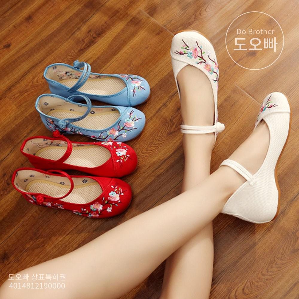 도오빠 수수오 여성 결혼식 신발 한복 봄 여름 가을 자수 숙녀신발 여자