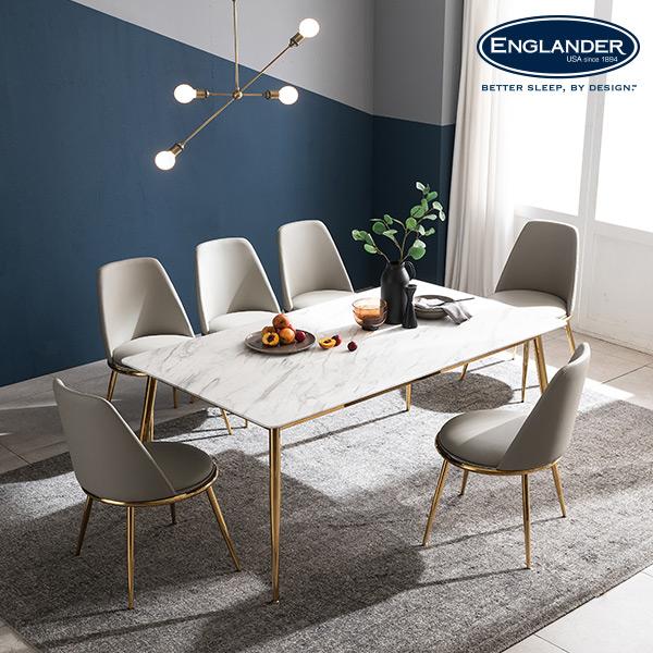 잉글랜더 브레아 RB세라믹 6인용 식탁 세트 의자6(LG), 마블화이트(라이트그레이)
