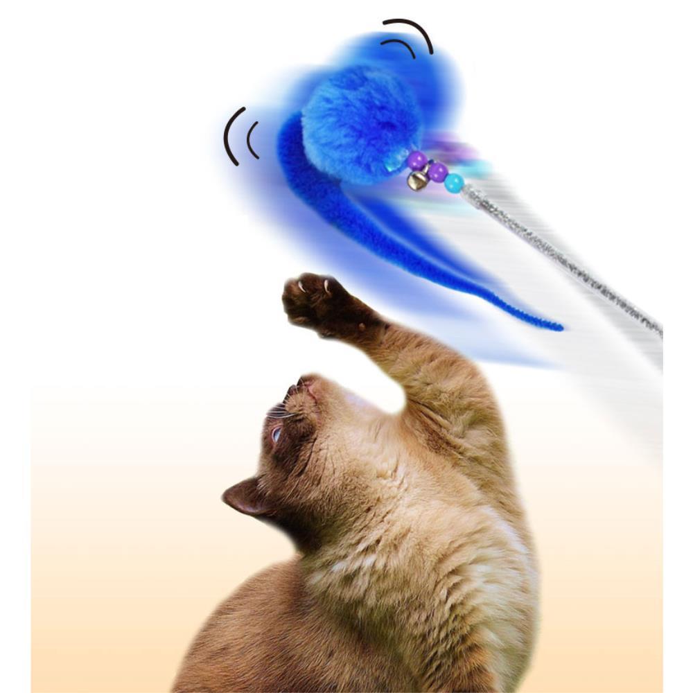 방울 냥이 장난감 고양이 폼폼 낚시대 선물 장난감스틱 반려묘 다묘가정 관심 놀아주기 흥미 고양이키우기, 1개