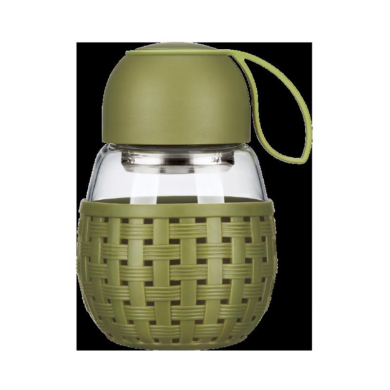락앤락 단추 휴대 큐트 달걀형 위빙 타입 내열 유리컵 물컵 원형 390MLLLG697, 그린