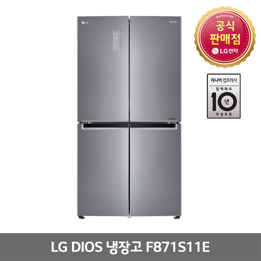 LG디오스 870L 4도어 냉장고 F871S11E 1등급, LG 디오스 F871S11E