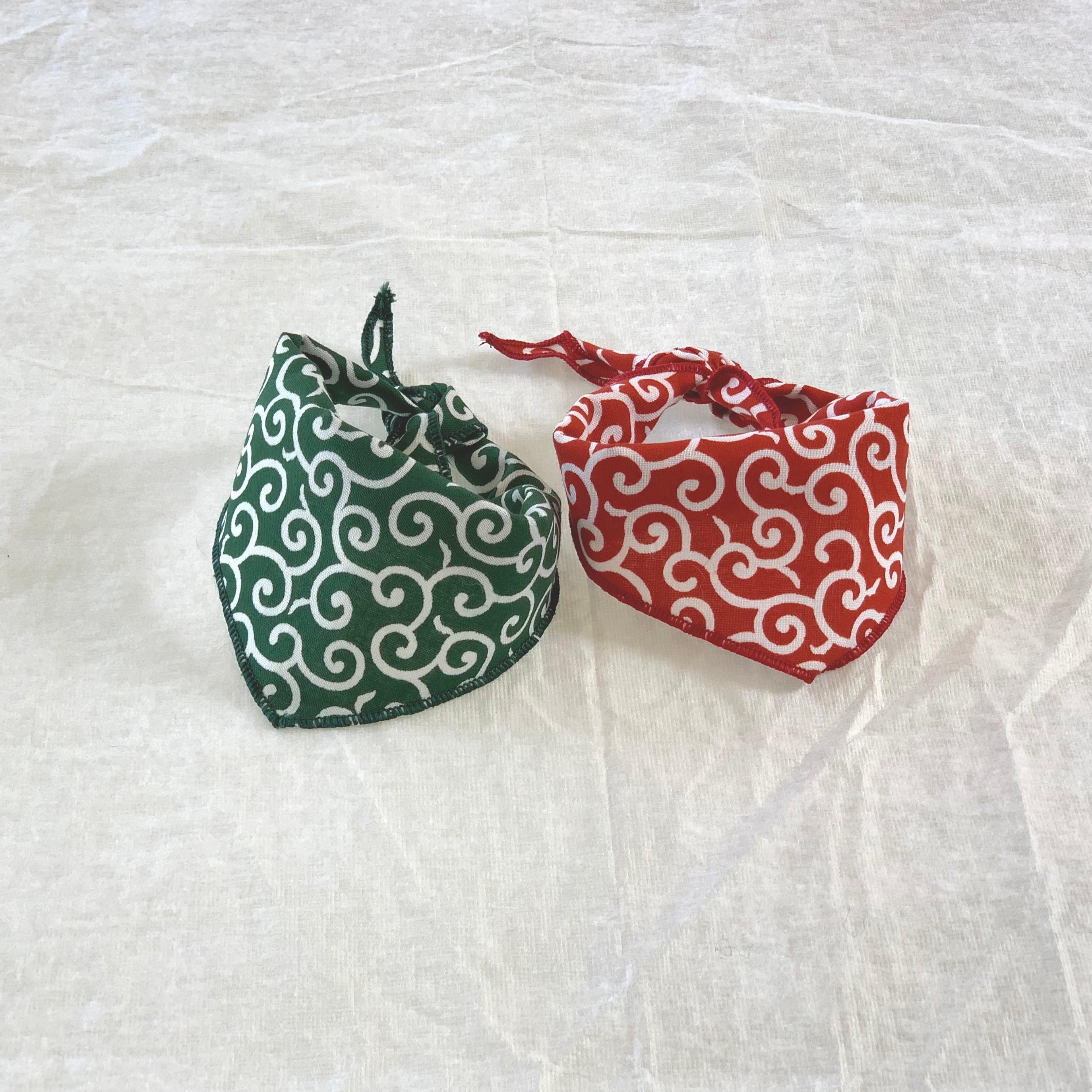 당초무늬 강아지 스카프 반다나 2개 세트, 1set
