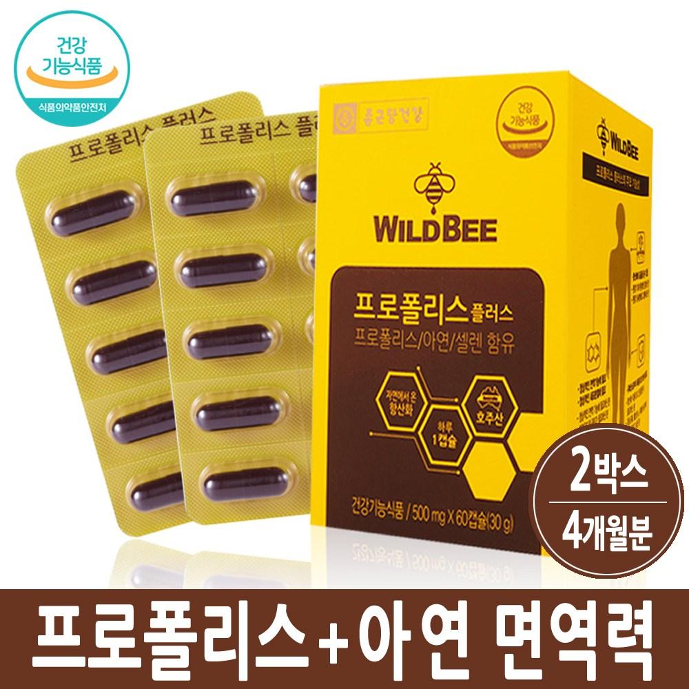 종근당건강 호주 프로폴리스 항산화 아연 셀런 플라보노이드 활성산소제거 영양제 캡슐 효능, 120정, 2박스, 30g
