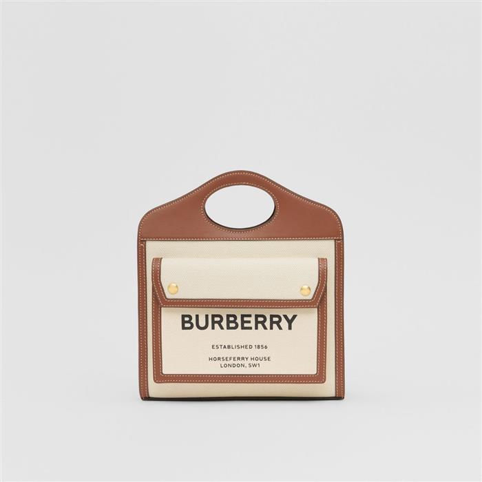 버버리 80317461 미니 투톤 캔버스 레더 포켓 백