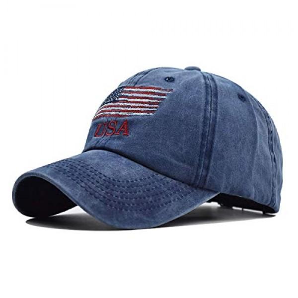 LOKIDVE 남자 미국 미국 국기 야구 모자 수 놓은 폴로 스타일 군대 모자 해군