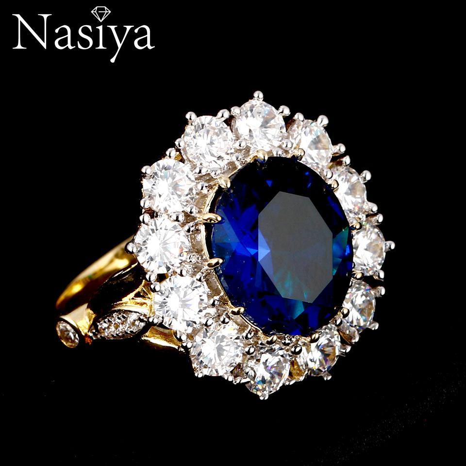 Nasiya 새로운 디자인 로맨틱 럭셔리 반지 골든 컬러 13x18mm 큰 타원형 사파이어 보석 패션 파인 쥬얼리 도매
