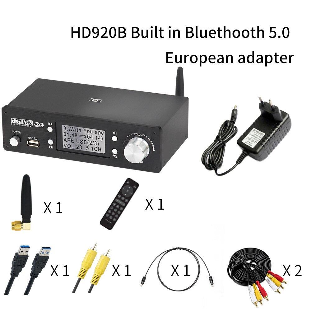 HD920 5.1CH 오디오 디코더 블루투스 5.0 수신기 DAC DTS AC3 Dolby Atmos 4K HDMI 호환 컨버터 SPDIF ARC PCUSB 사운드 카드, HD920B EU_1