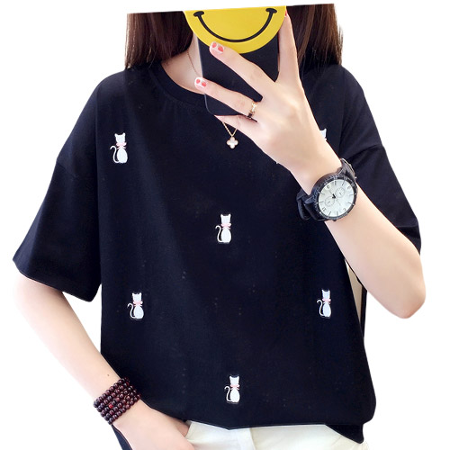 [여성패션] 리더스타 여성티셔츠 여성반팔티 루즈핏 자수 반팔 티셔츠 - 랭킹100위 (15800원)
