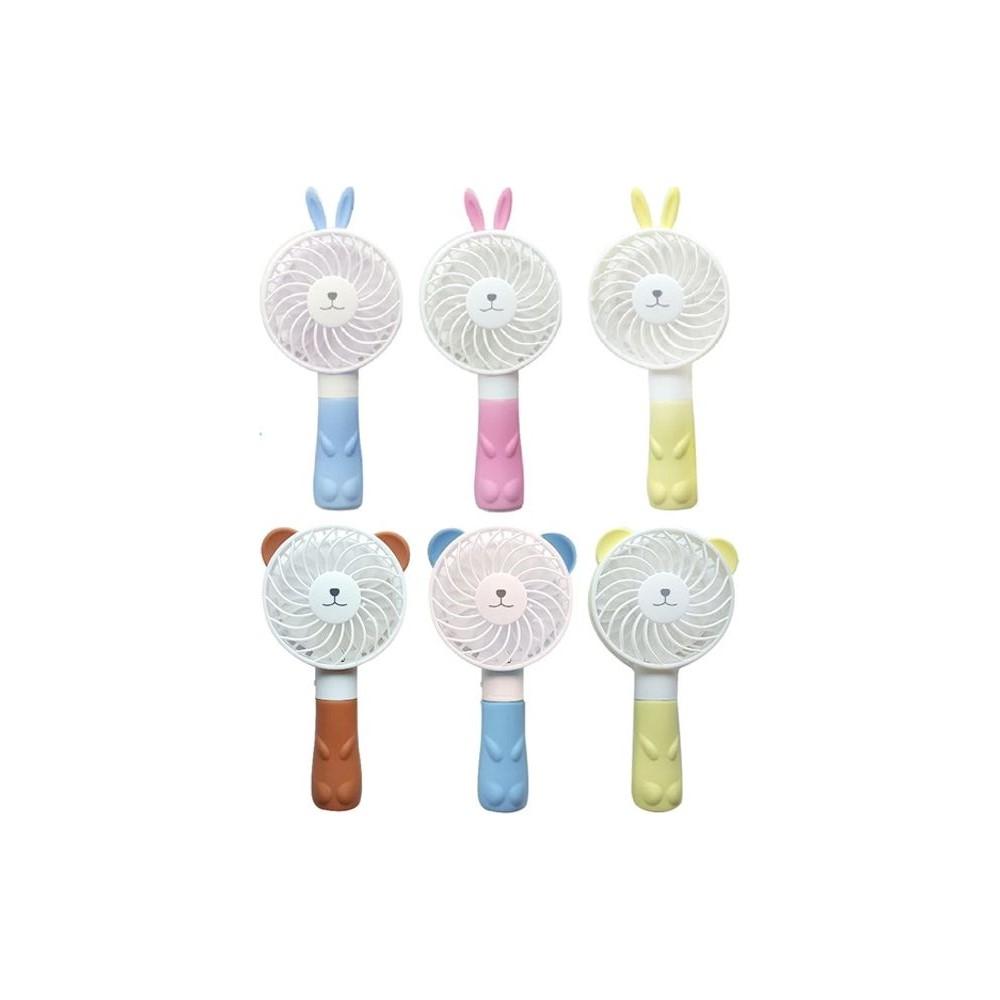 캐릭터 목걸이줄 핸드 선풍기 FAN100 미니 휴대용 일반형, 토끼 분홍 노랑 색상랜덤발송