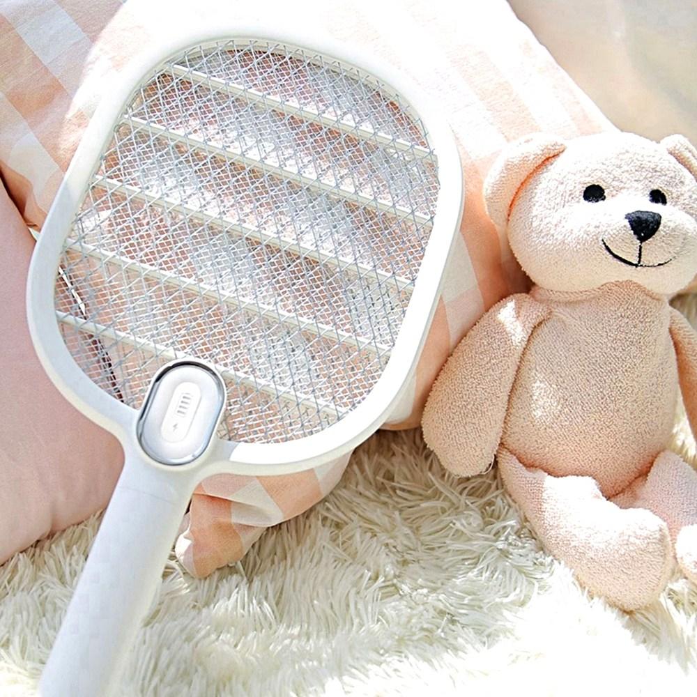 (본사직배송] 모기시루 LED USB충전 전기모기채 예쁜모기채 여름모기 가을모기 캠핑필수모기채 다잡아모기채 바캉스휴대모기채, 화이트