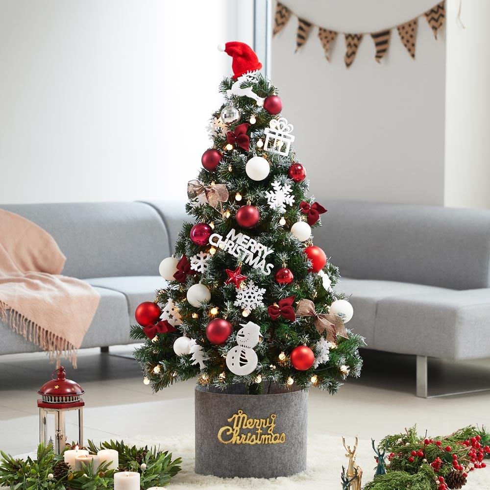 아웃팅 크리스마스트리 나무 장식 소품 전구 풀세트 1.3m~1.9m, 벨벳 버건디 1.3m