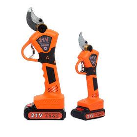 브랜드 충전식 전동전지가위 가지치기 전지가위 대용량배터리, 주황색 3cm + 배터리 2 개