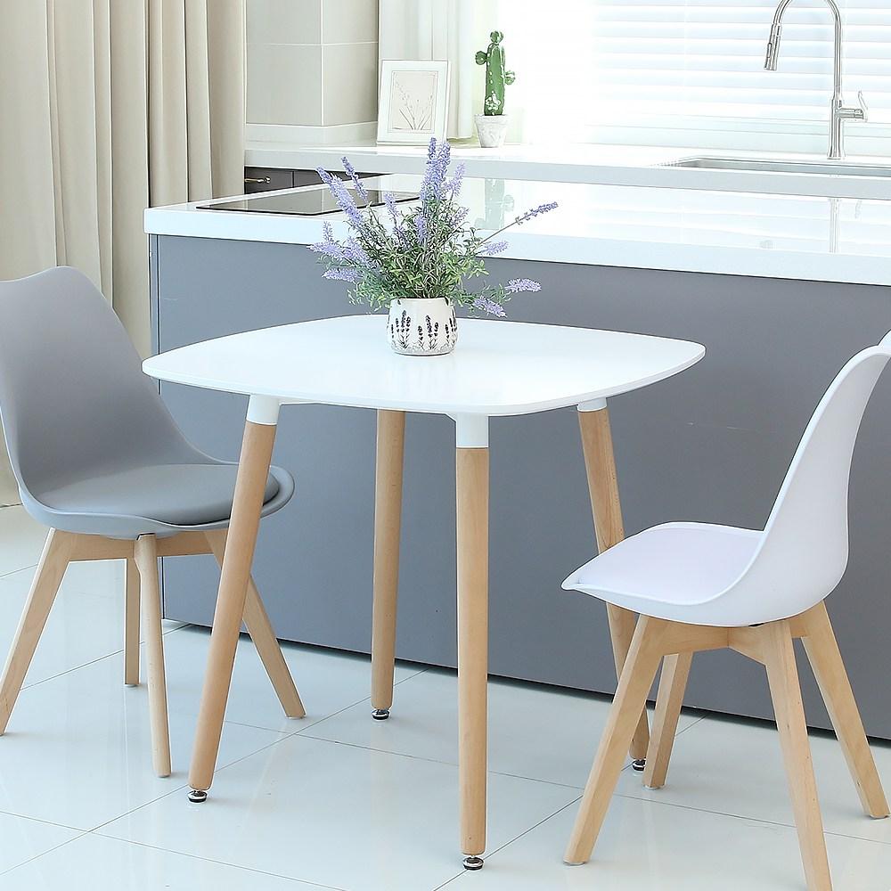지엠퍼니처 화이트 2인용 사각 라운드 식탁 테이블 (W800), 화이트800 사각