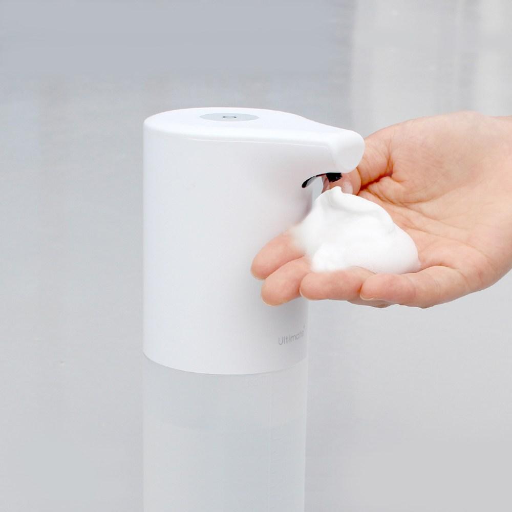 [Ultimate+] [당일무료배송] ALL바른 자동 거품 디스펜서(핸드워시 무료증정) 자동손세정기 USB충전 주방욕실 인테리어 센서형 욕실공병 거품용기 집들이선물 핸드워시리필 깨, 화이트