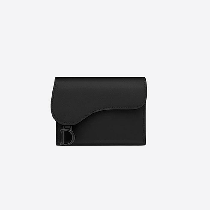 [디올] 새들 카드 홀더 지갑 (블랙) S5644SLLO_M989