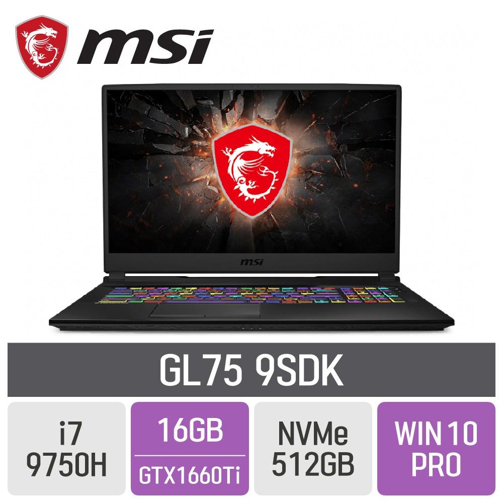MSI 게이밍노트북 GL75 9SDK [게이밍마우스 증정], 16GB, SSD 512GB, 포함