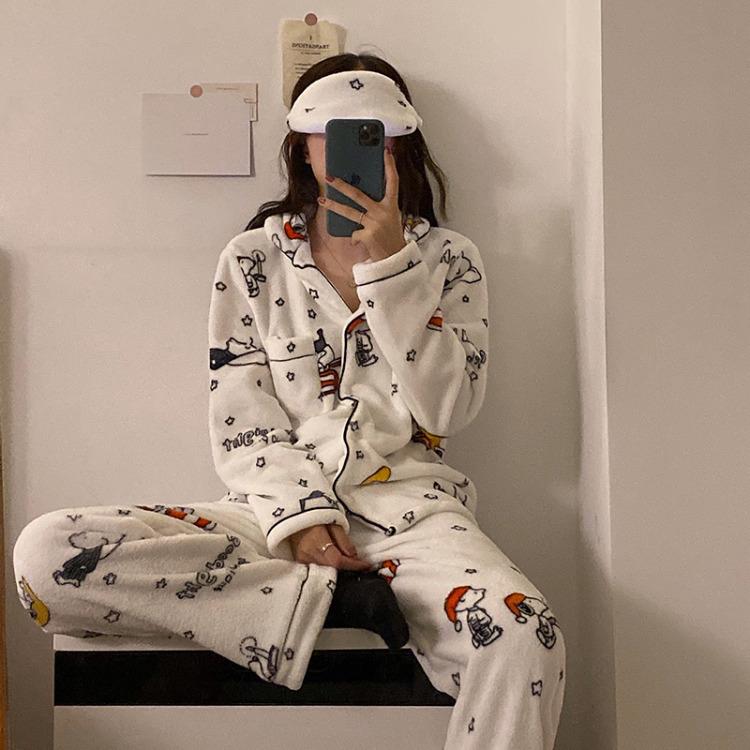 스누피 잠옷 캐릭터 극세사 수면잠옷 파자마 헤어밴드 세트