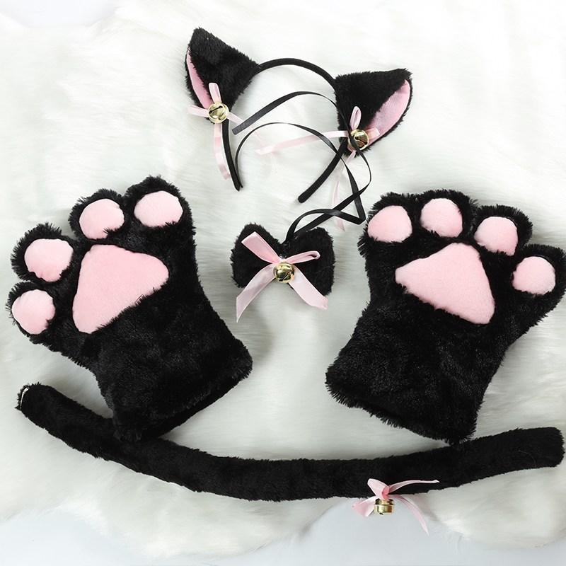 COS 반다나 헤어밴드 터번 고양이발톱 장갑 꼬리 큐트 코스튬의상 학생