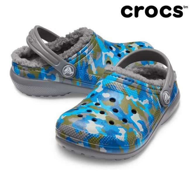 크록스 털신 키즈 클래식 프린티드 라인드 클로그 205815-025 차콜 아동 겨울신발