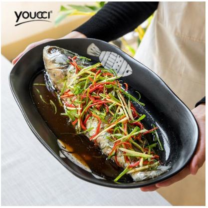 유자(유찌)격조 시리즈 대호 도자기 어반 일식 스타일 초대형 판자형 접시 생선 주름 특색 식당 요리 접시 14.5인치 생선 접시, 상세페이지 참조
