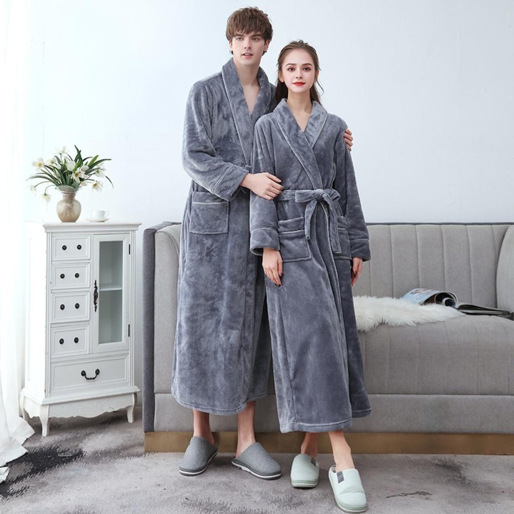 겨울 커플 극세사 수면 목욕 두툼한 커플 샤워가운 잠옷 홈웨어, 여성, 그레이컬러