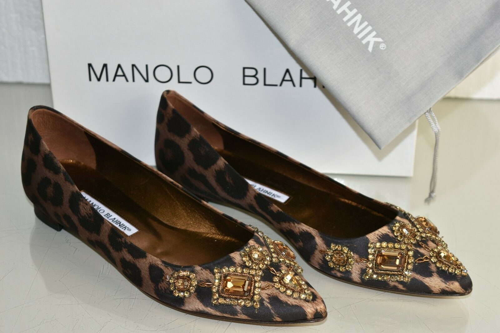 $1345 New MANOLO BLAHNIK TITTO LEOPARD SATIN JEWELED CRYSTALS FLATS SHOES 38