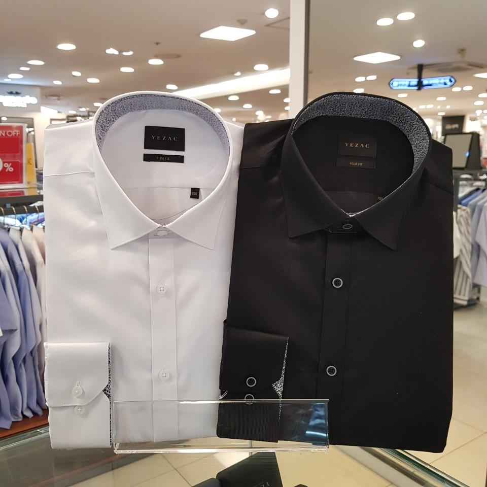 예작 YJ9FBS107 슬림핏 2컬러 배색 화이트& 블랙 긴소매 와이셔츠 직장용~조문용~좋아