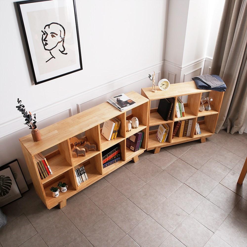 라미에스 고무나무 원목 2단 낮은 책장, 매니 1000 책장