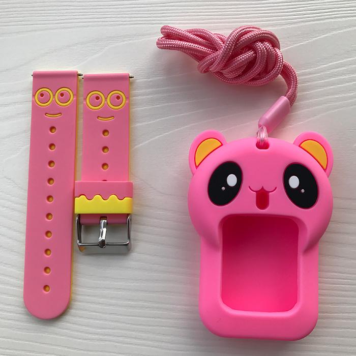 웨어러블디바이스액세서리 뉴타입 어린이폰 손목시계 밴드 스마트와치 핸드폰 블랙 애니메이션 그림 시계줄 부속가방 택배, 기본, T11-미니언즈 핑크+리틀베어 .보호필름증정