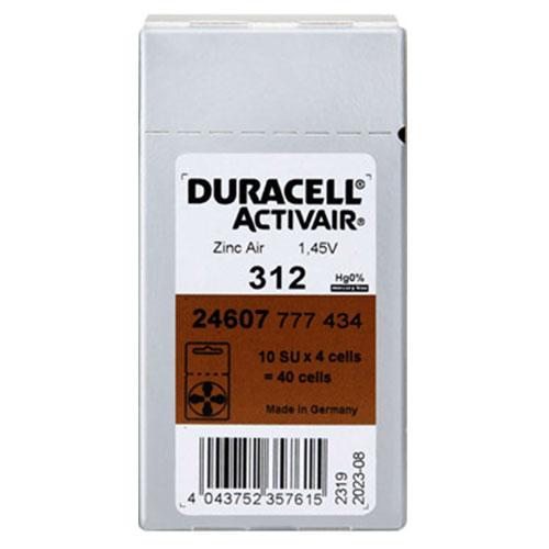 듀라셀 스타키 3통구매시 사은품 보청기배터리건전지 스타키보청기밧데리공용 배터리, 40입, 듀라셀 312A