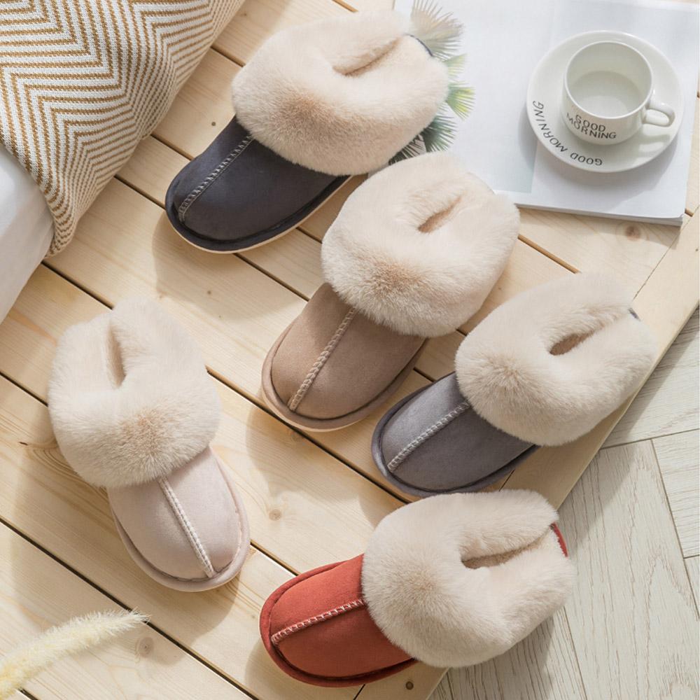 체큐아 여성 퍼 방한 털 사무실 슬리퍼 신발