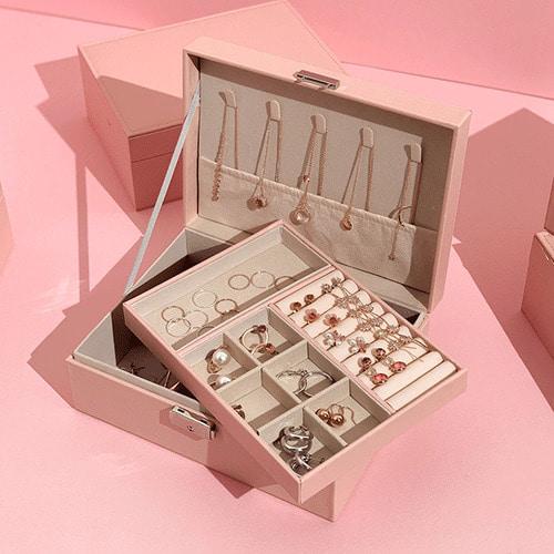 뻬이보릿 악세사리 귀걸이 반지 목걸이 주얼리 보관함 2단 핑크 블랙 화이트