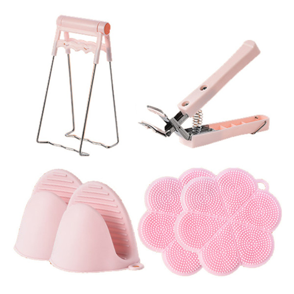 슈페리온 실용적인 주방아이디어용품 6종세트 냄비뚝배기집게 실리콘냄비받침 실리콘장갑 냄비집게, 6종, 핑크