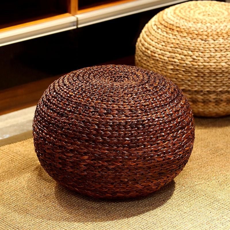 원형 라탄 스툴 의자 다도 감성 인테리어 브라운, 단품