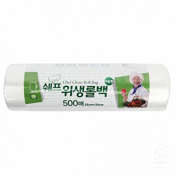 유즈크 쉐프 위생롤백 25 X 35cm 500매 야채봉투, 1