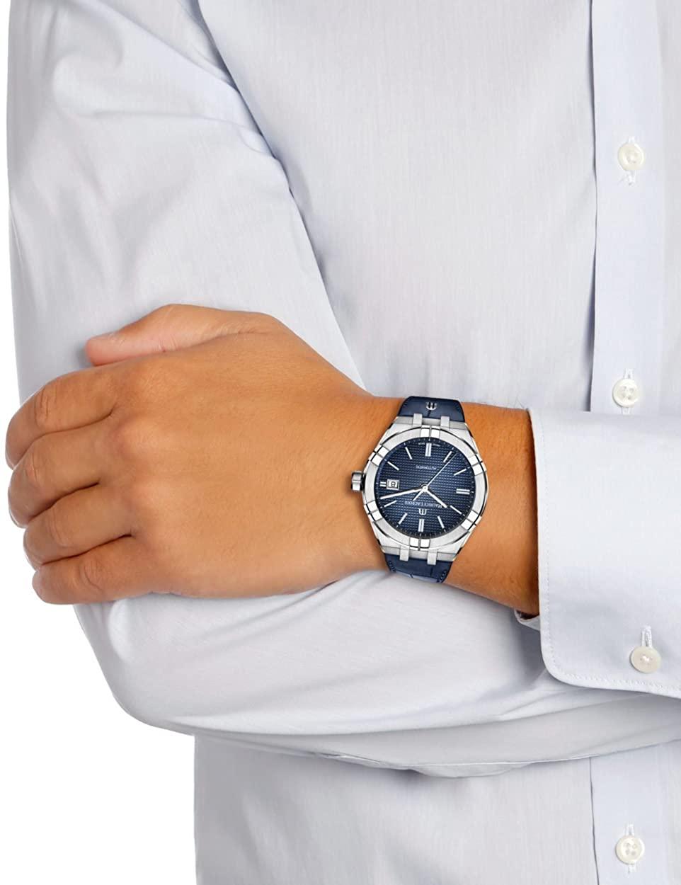 (관부가세포함) Maurice Lacroix Aikon Gents Automatic Watch 42 mm Blue AI6008-SS001-430-1-B07CNL4RPK