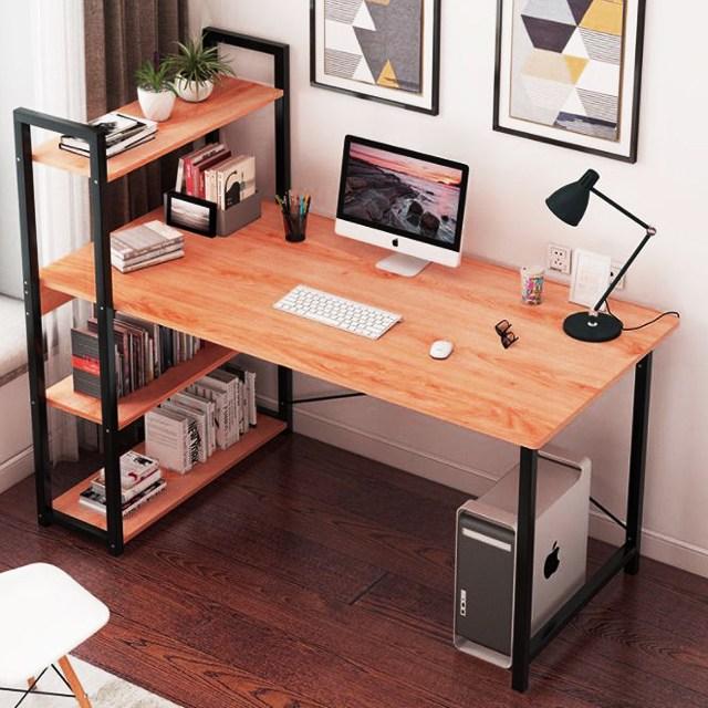 더준 책상겸테이블 전면 중학생 원룸 조립식 철제 책상, 책장형120