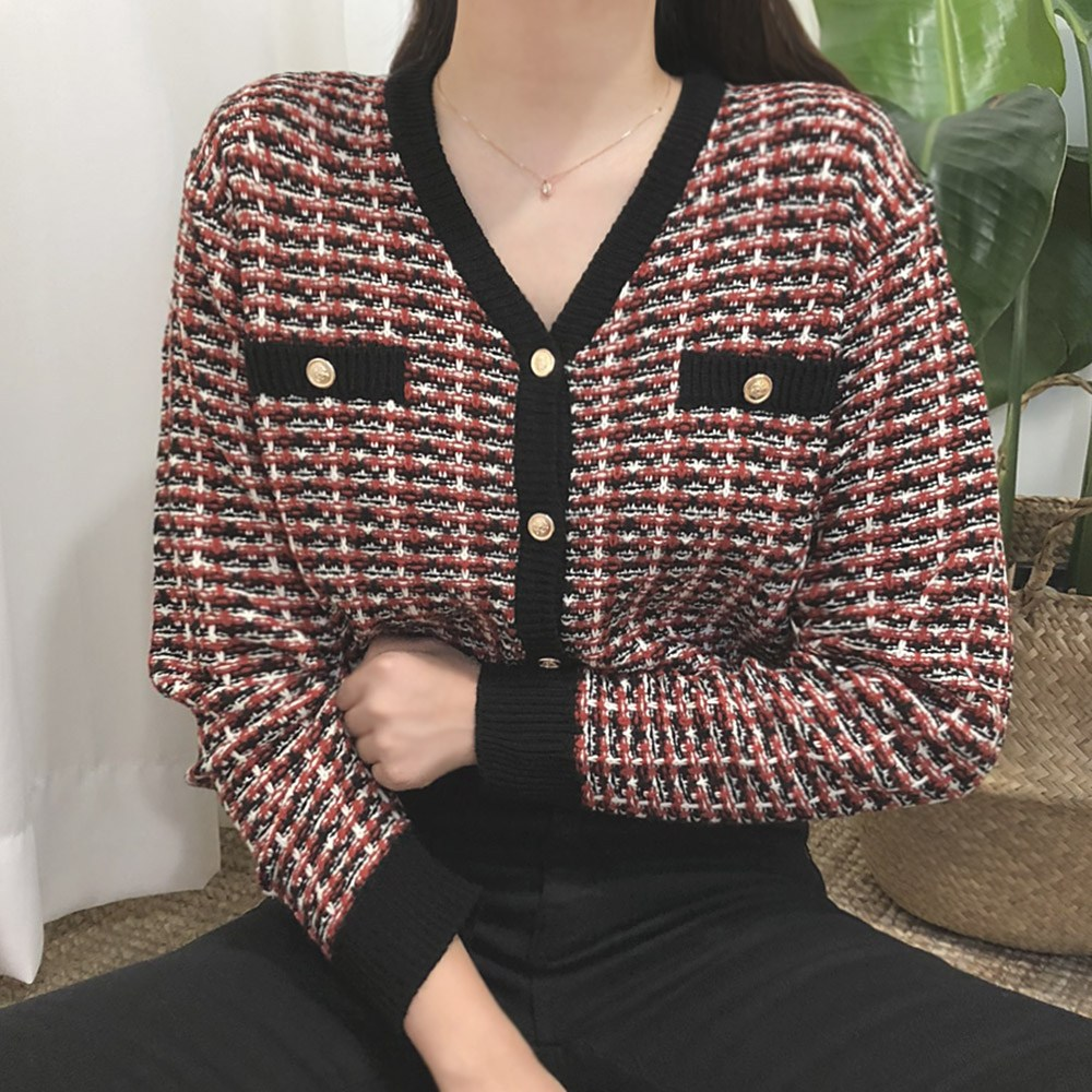 다미로그 여성용 브이넥 트위드 니트 가디건