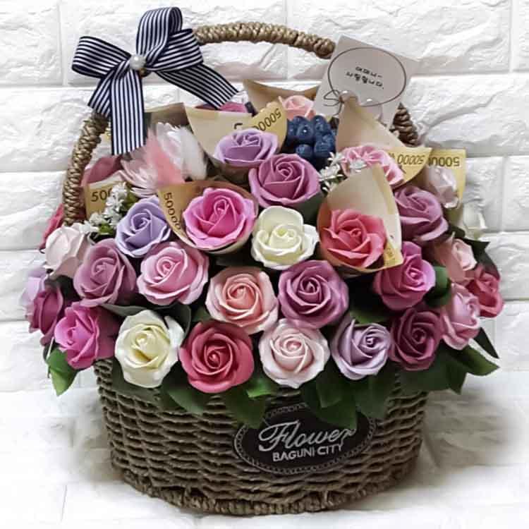 민스 플라워 비누꽃바구니 60송이 육순선물 환갑선물 부모님생신선물, 장미