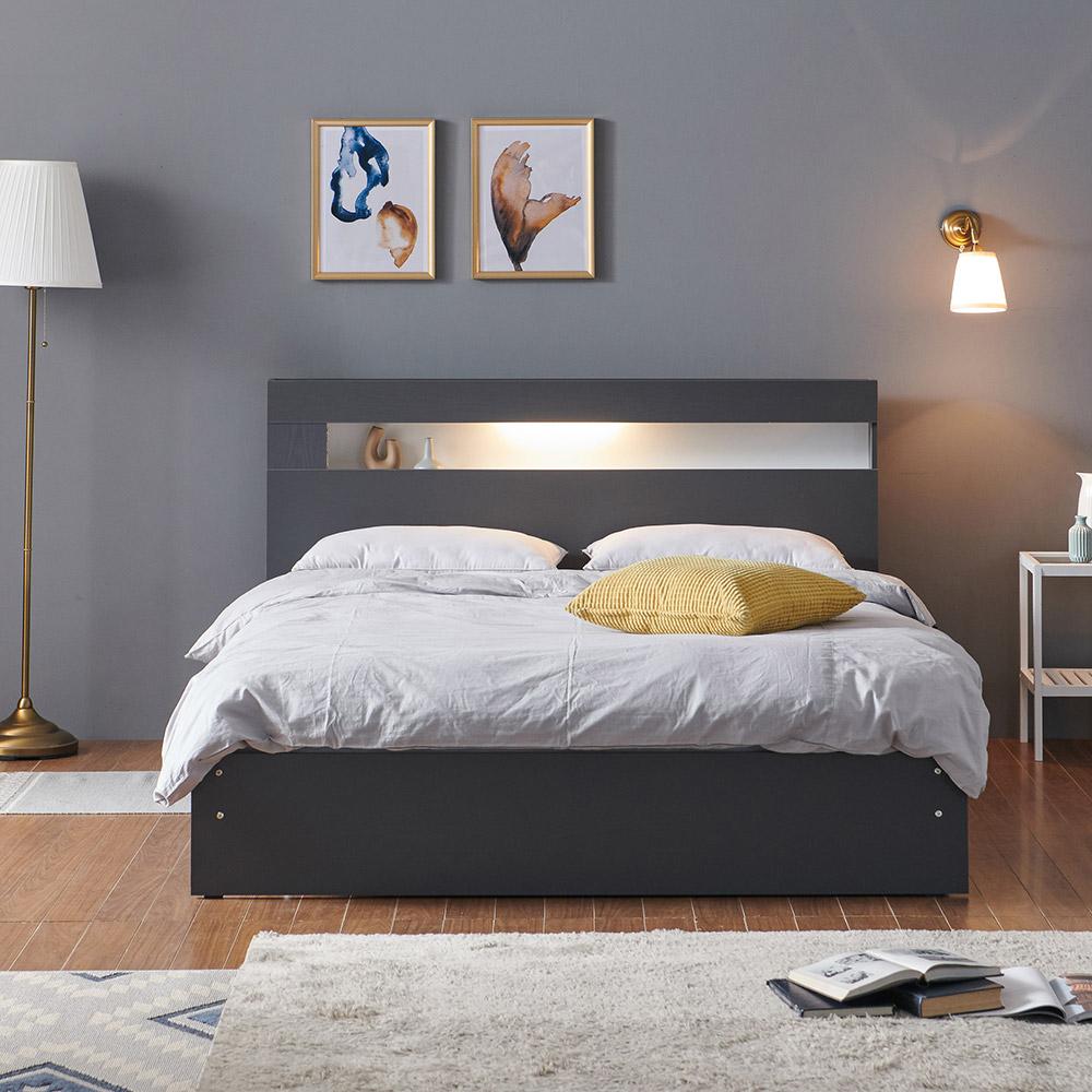 크렌시아 그레이스 LED 일반형 슈퍼싱글/퀸 침대+본넬 매트리스+방수커버, 그레이