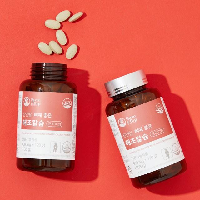 팜엔탑 뼈에 좋은 해조 칼슘 치아 잇몸 영양제 (1개월분), 900mg, 120정