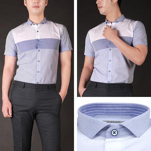 럭스타이 반팔 슬림 와이셔츠 S7522 (블루 투톤 헨리넥)