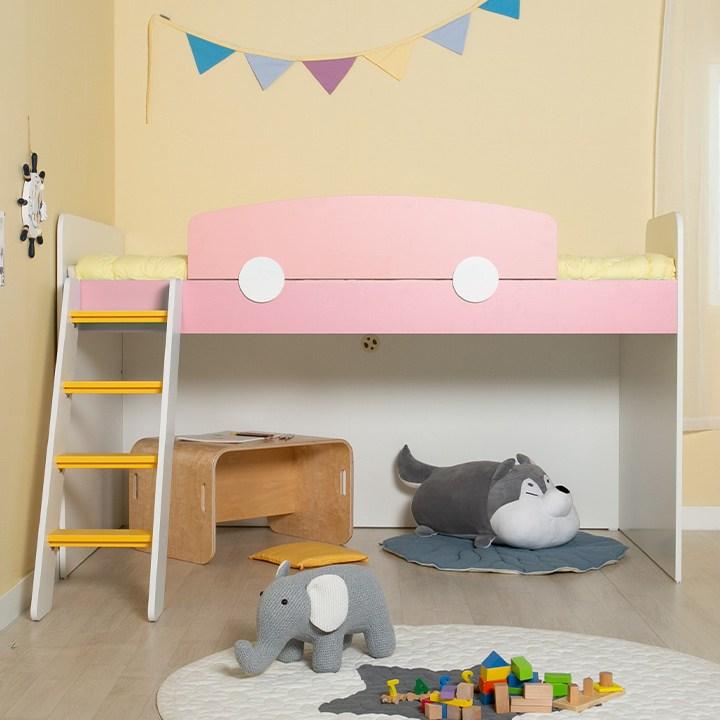 에보니아 플레이 벙커침대 사다리 미끄럼틀, EB1101 매트제외 핑크