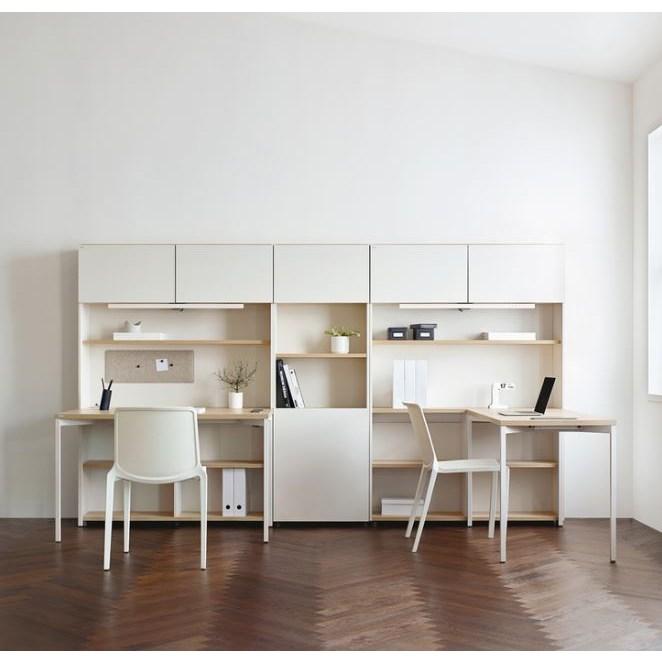데스커 일반형 책상세트, 라이트오크+화이트