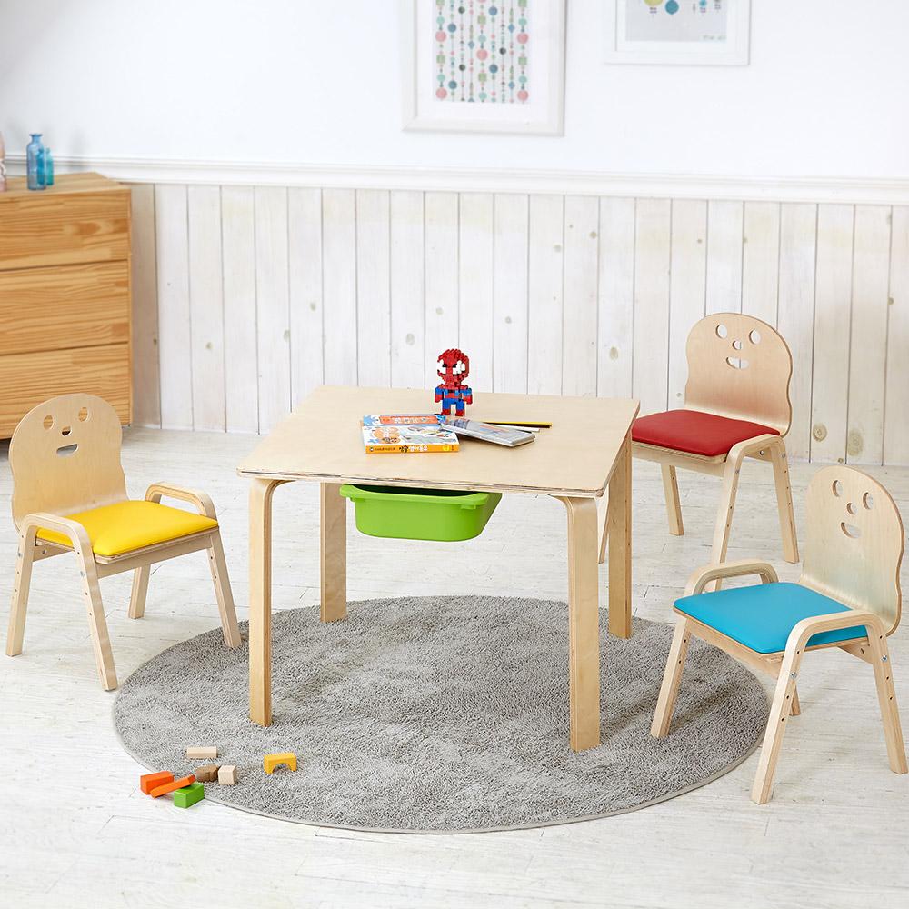 토리 원목 유아 쿠션의자 정사각 수납책상세트 2-7세, 유아 정사각+바구니 연두 / 쿠션의자 빨강 2개